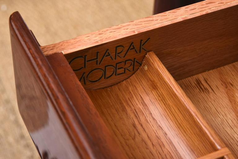 Modernist Walter Charak Macassar Ebony, Mahogany and Brass Desk Midcentury For Sale 3
