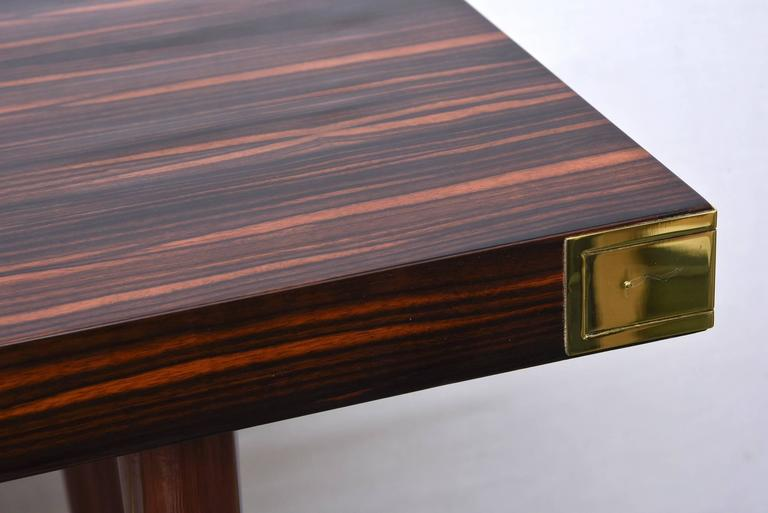 Modernist Walter Charak Macassar Ebony, Mahogany and Brass Desk Midcentury In Good Condition For Sale In North Miami, FL