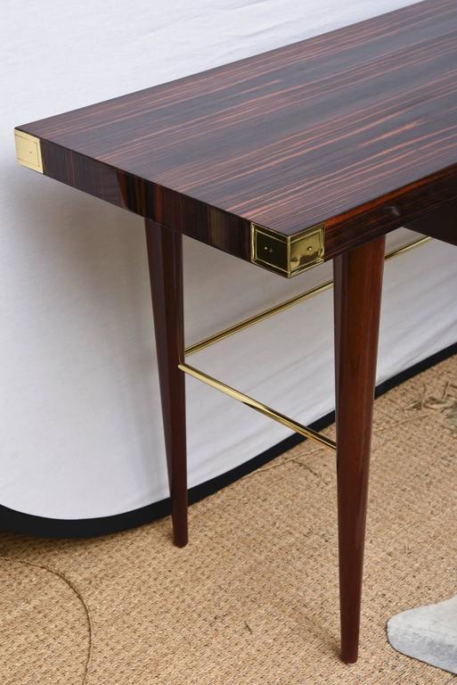 American Modernist Walter Charak Macassar Ebony, Mahogany and Brass Desk For Sale