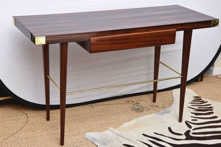Wood Modernist Walter Charak Macassar Ebony, Mahogany and Brass Desk For Sale