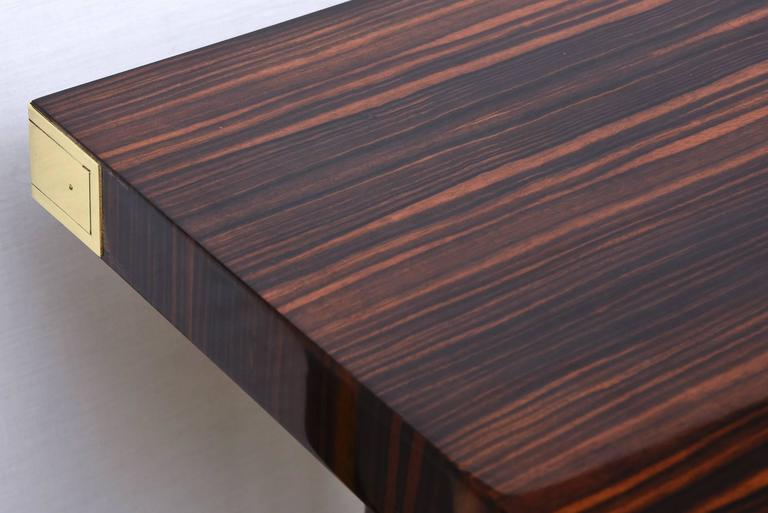 Mid-20th Century Modernist Walter Charak Macassar Ebony, Mahogany and Brass Desk For Sale