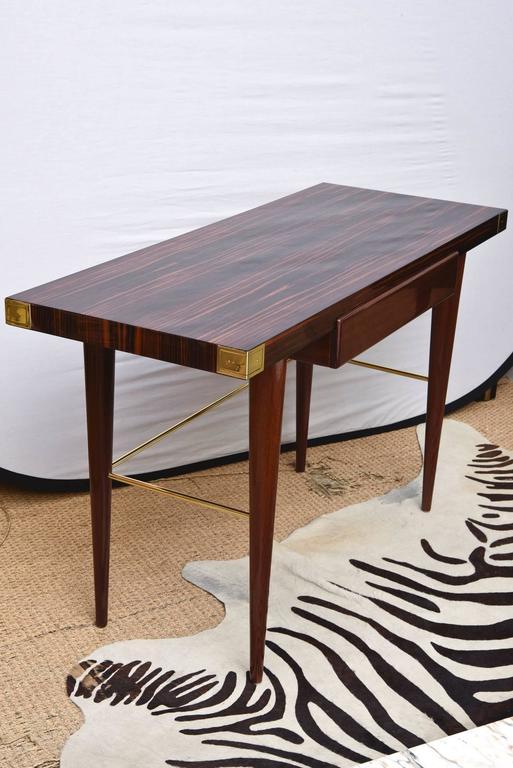 Mid-Century Modern Modernist Walter Charak Macassar Ebony, Mahogany and Brass Desk Midcentury For Sale