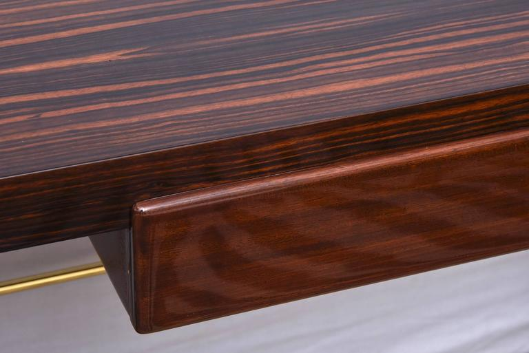 Modernist Walter Charak Macassar Ebony, Mahogany and Brass Desk Midcentury For Sale 2