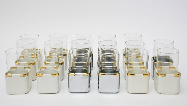 German Set of 17 Resin, Glass and Gold-Plated Garden Drinking Glasses Barware For Sale
