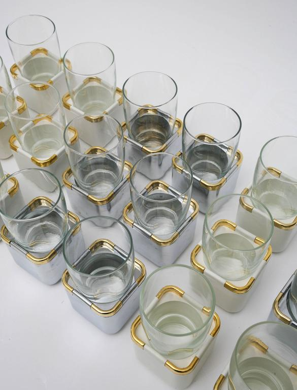 Modern Set of 17 Resin, Glass and Gold-Plated Garden Drinking Glasses Barware For Sale