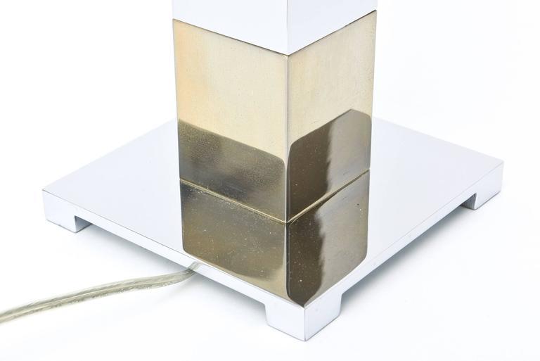 Karl Springer Style Alternating Brass and Chrome Cube Column Table or Desk Lamp For Sale 2