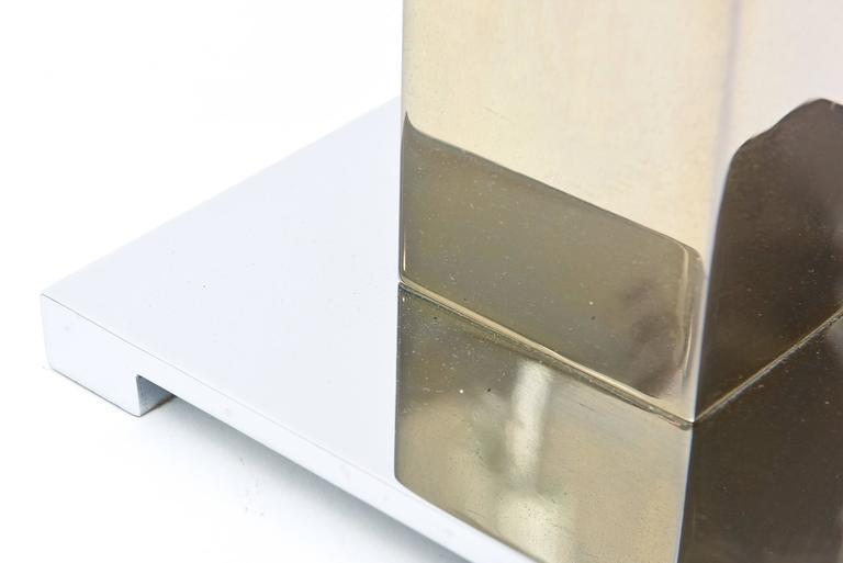Karl Springer Style Alternating Brass and Chrome Cube Column Table or Desk Lamp For Sale 1