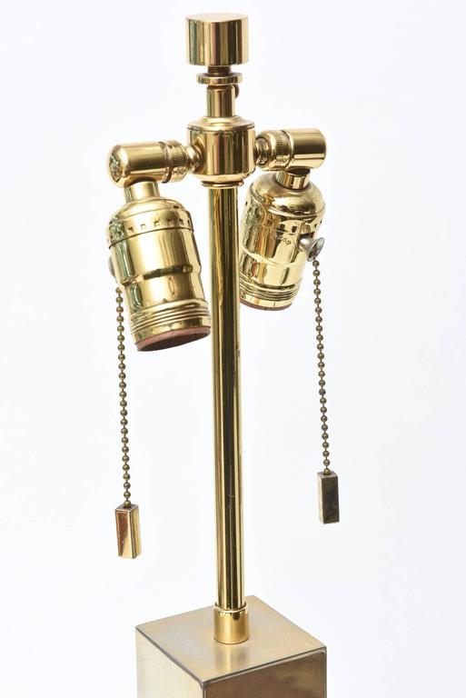 Modern Karl Springer Style Alternating Brass and Chrome Cube Column Table or Desk Lamp For Sale