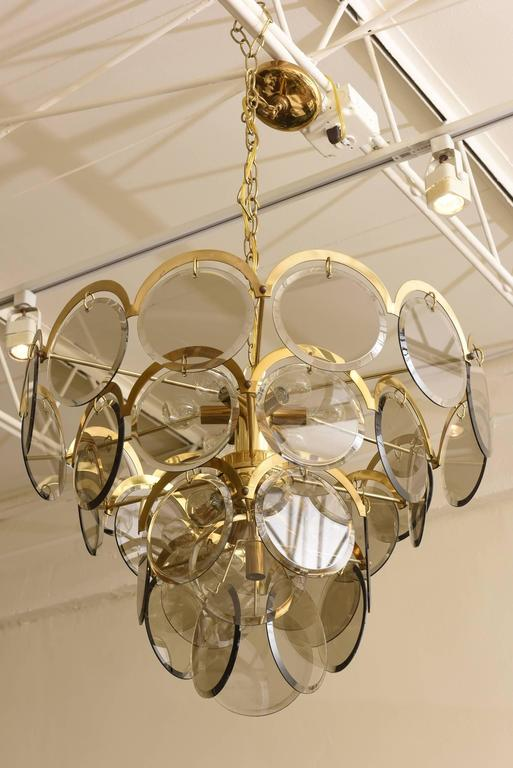 Italian Murano Vistosi Smoked Beveled Glass Disk and Brass Chandelier 2