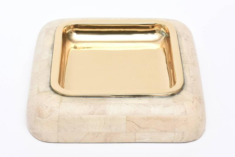 Modern Maitland-Smith Tessellated Stone and Polished Brass Large Bowl  For Sale