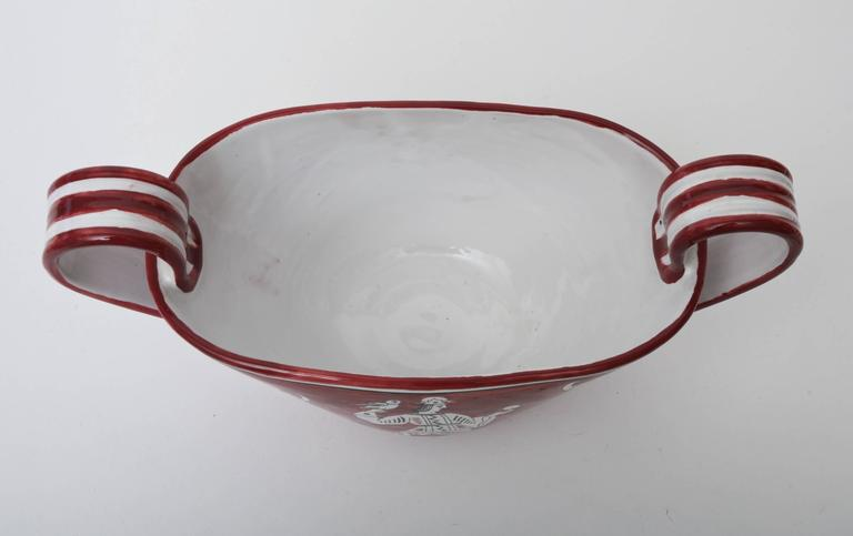 Italian Mid-Century Glazed Ceramic  Handled Bowl, Vessel Sculpture In Excellent Condition For Sale In North Miami, FL