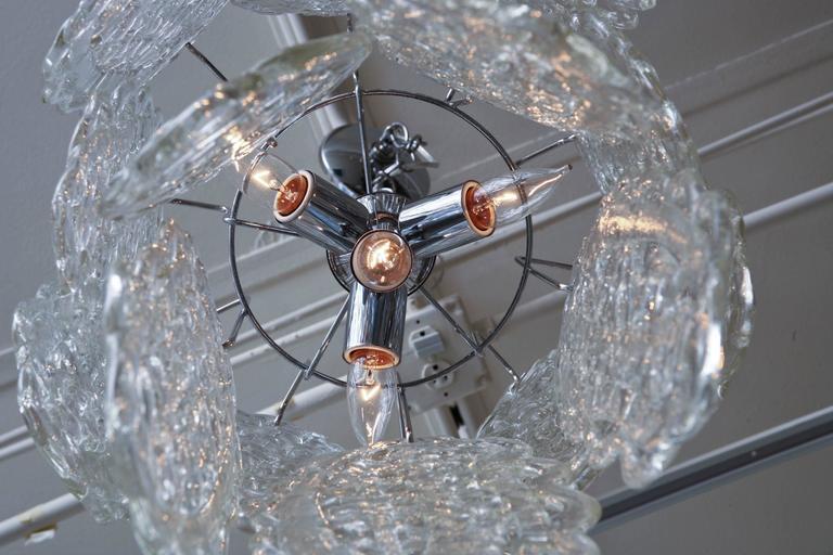 Italian Murano Mazzega Glass Pretzel Pendant Chandelier For Sale 2
