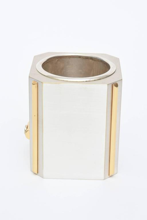 Modern Italian Gucci Brushed Silver Plate and 24-Carat Gold-Plated Pen/Pencil Holder For Sale