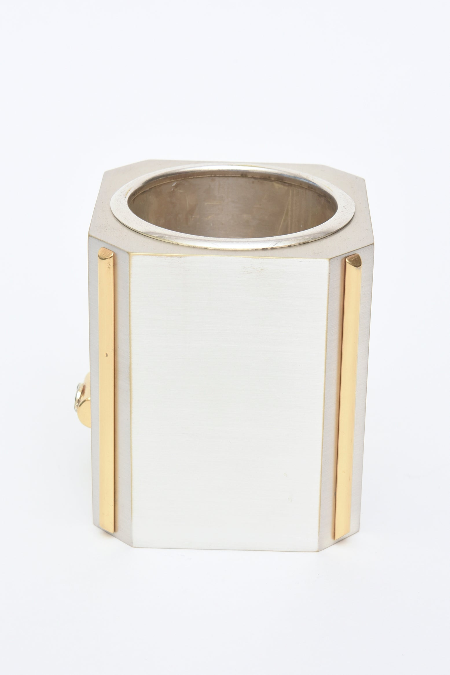 Italian Gucci Brushed Silver Plate And 24 Carat Gold Plated