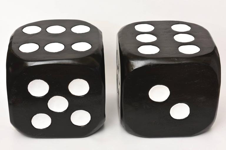 Pair Of Monumental Sculptural Wood Floor Dice Benches