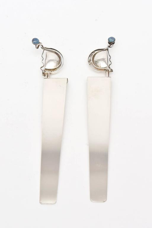 Modern Pair of  Signed and Dated Sterling Silver and Opal Bookmarks  For Sale