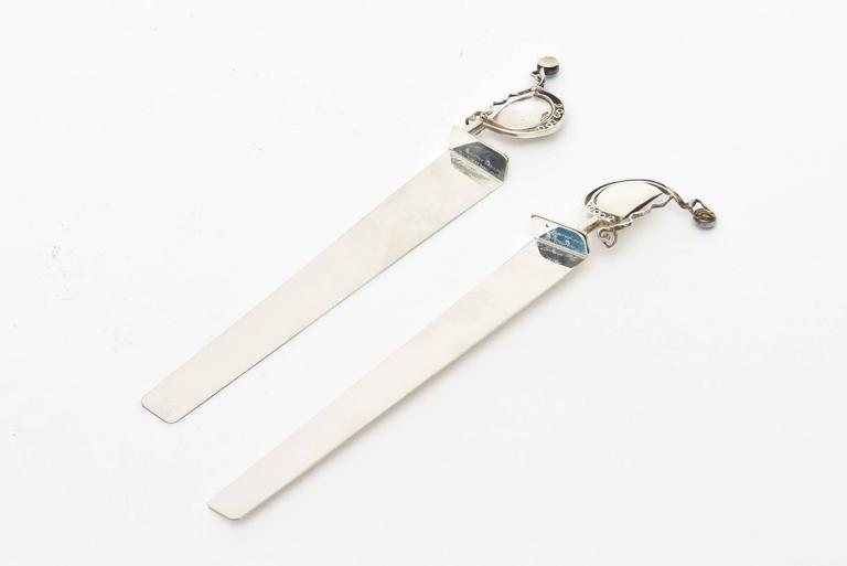 Pair of  Signed and Dated Sterling Silver and Opal Bookmarks  For Sale 2