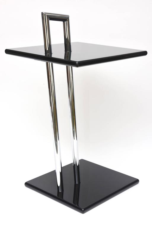 Eileen Gray Second Edition Black Lacquer Wood And Chrome Side Tables/ SALE 2