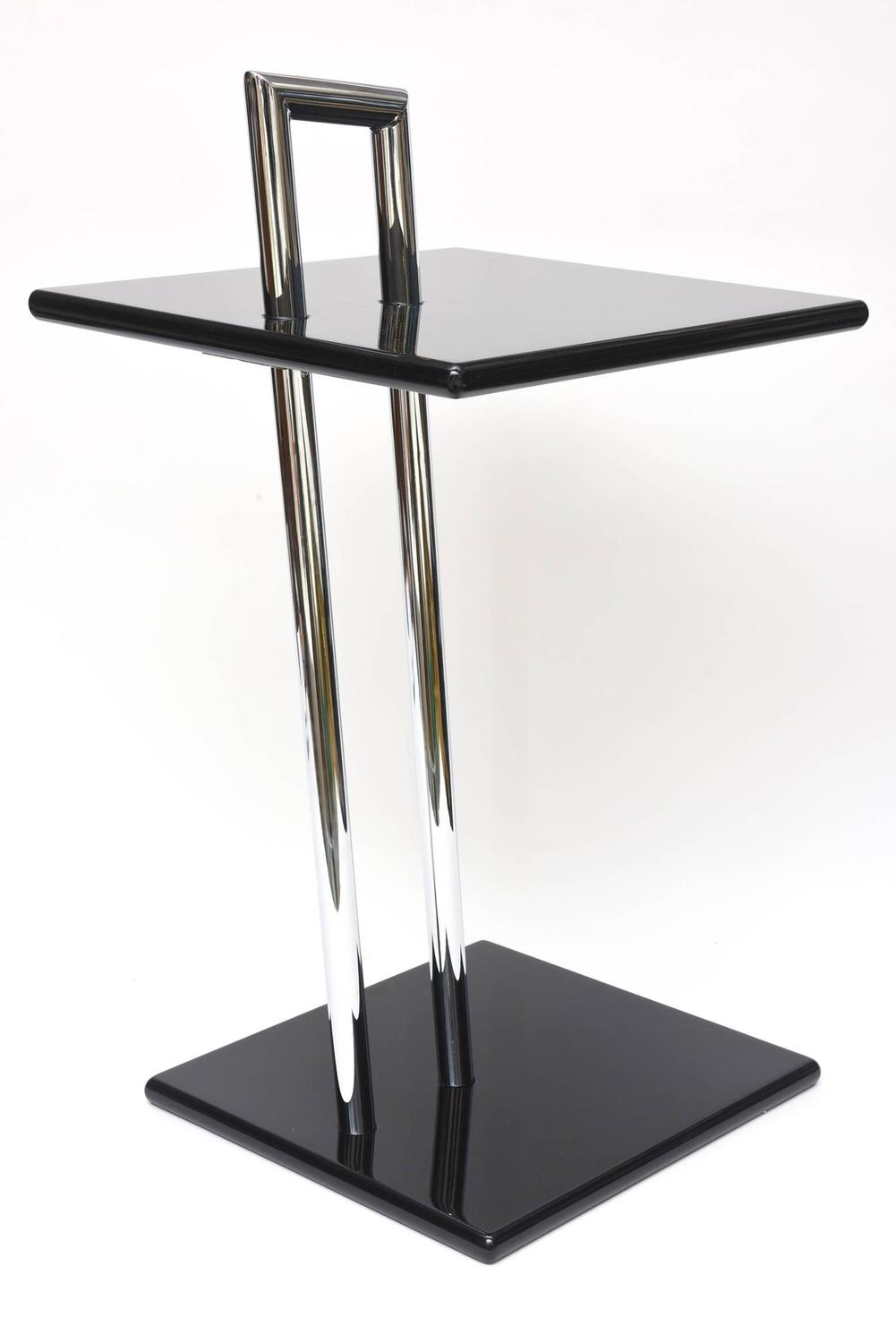 Eileen Gray Second Edition Black Lacquer Wood And Chrome Side Tables Sale At 1stdibs