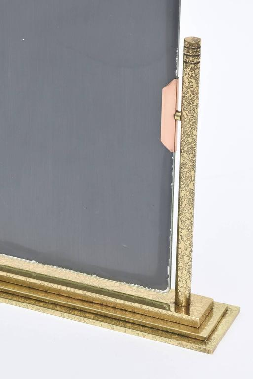 Bronze and Brass Vintage Dual Picture Frame and Mirror For Sale 1