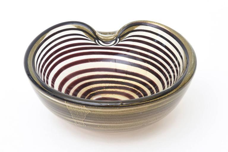 Mid-Century Modern Murano Seguso Zebratti Spiral Optical Glass Bowl For Sale