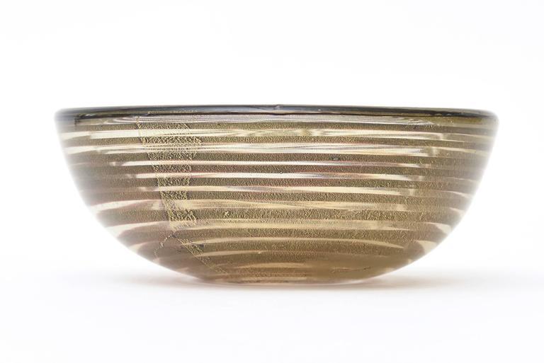 Italian Murano Seguso Zebratti Spiral Optical Glass Bowl For Sale