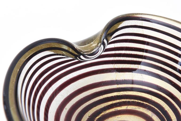 Mid-20th Century Murano Seguso Zebratti Spiral Optical Glass Bowl For Sale