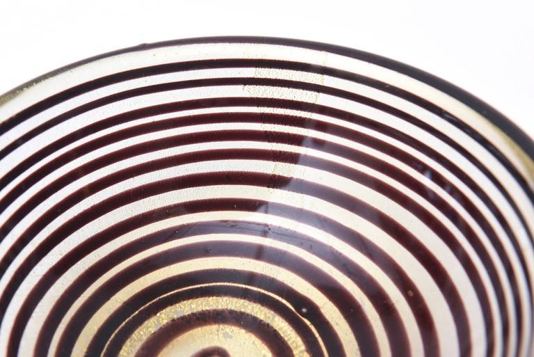 Murano Seguso Zebratti Spiral Optical Glass Bowl For Sale 1