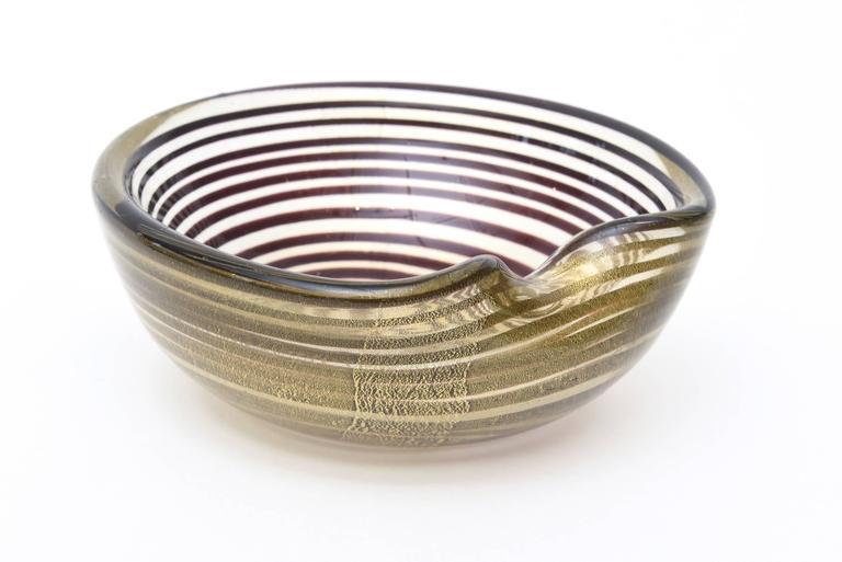 Murano Seguso Zebratti Spiral Optical Glass Bowl For Sale 3