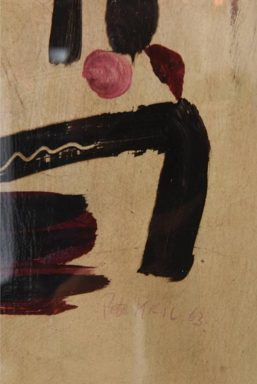 Mid-20th Century Peter Keil Oil on Board Abstract Painting Custom Framed Signed 1960s For Sale