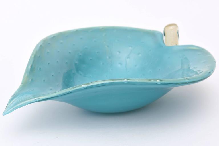 Italian Murano Barovier e Toso Turquoise and Gold Aventurine Glass Bowl 2
