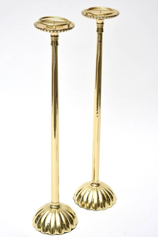 Mid-Century Modern Brass Regal Candlesticks Pair of Vintage For Sale