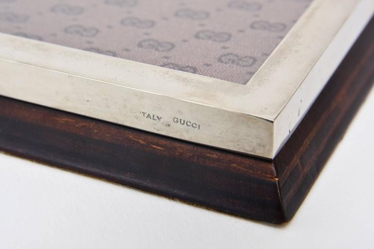 Vintage Italian Signed Gucci Chrome, Fabric, Wood Note Pad Holder/Desk Accessory 9