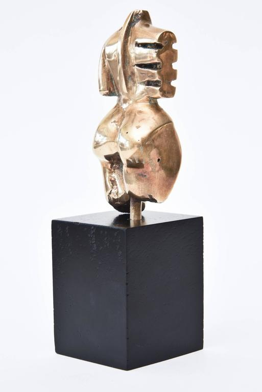 Bronze Abstract Cubist Torso Sculpture Vintage In Good Condition For Sale In North Miami, FL