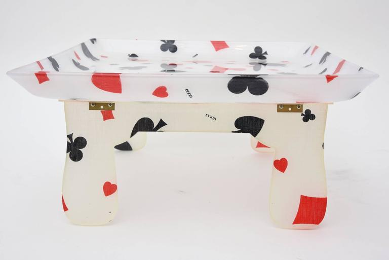 Italian Gucci Vintage Lucite Deck of Cards Folding Serving Tray / Barware For Sale 1