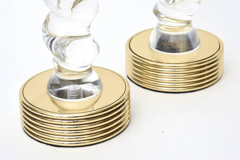 Twisted Lucite and Brass Vintage Candlesticks, Pair For Sale 1