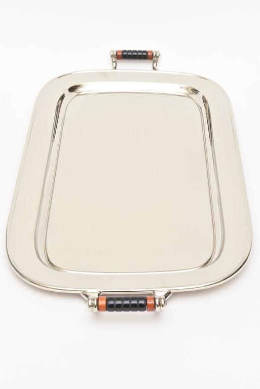 Art Deco Nickel Silver and Bakelite Serving Tray Barware Vintage For Sale 1