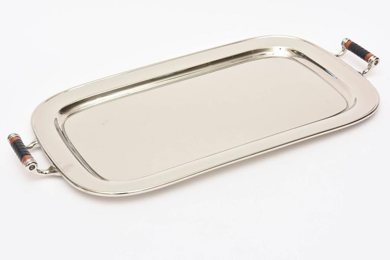 New Vintage Art Deco Nickel Silver and Bakelite Elongated Serving Tray  KX37