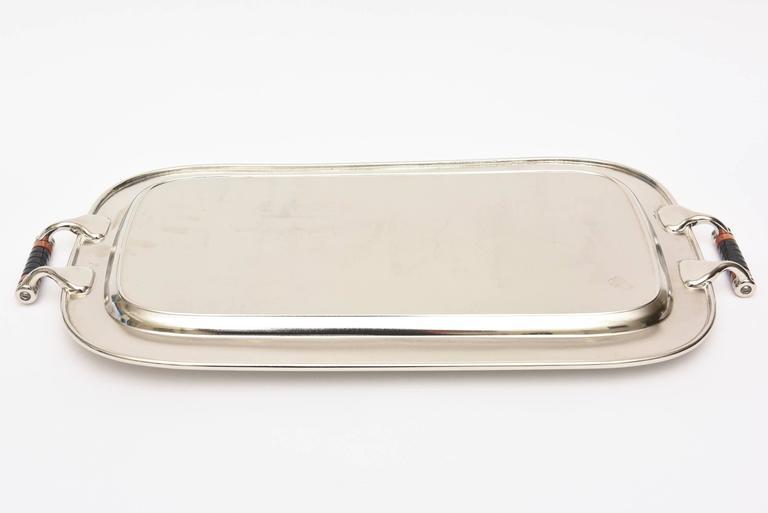 Art Deco Nickel Silver and Bakelite Serving Tray Barware Vintage For Sale 3
