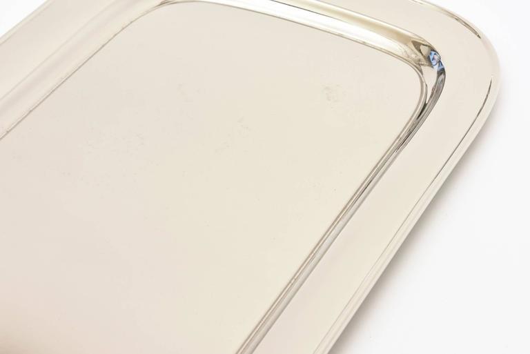 Art Deco Nickel Silver and Bakelite Serving Tray Barware Vintage For Sale 2