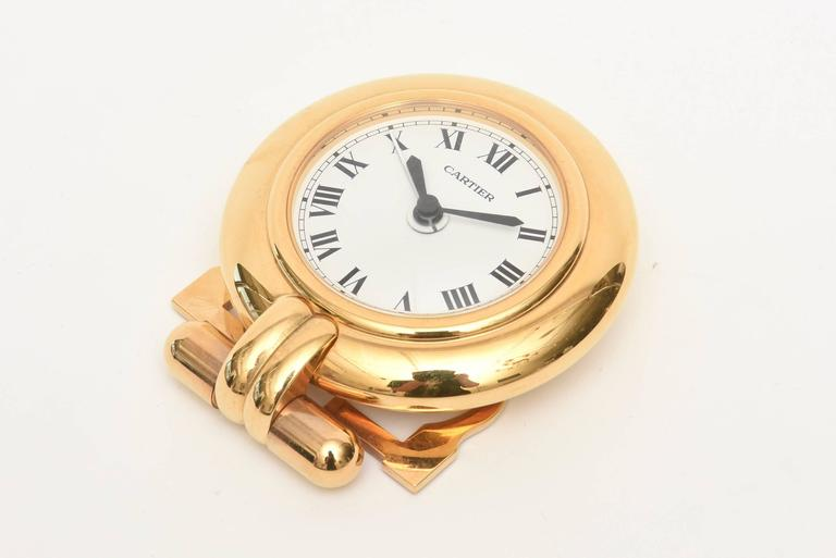 Cartier 24-Karat Gold-Plated Travel, Desk or Nightstand Quartz Clock / SAT.SALE In Excellent Condition For Sale In North Miami, FL
