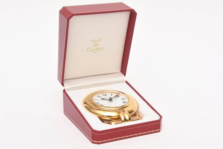Cartier 24-Karat Gold-Plated Travel, Desk or Nightstand Quartz Clock / SAT.SALE For Sale 2