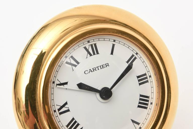 Mid-20th Century  Cartier 24-Karat Gold-Plated Travel, Desk or Nightstand Quartz Clock / SAT.SALE For Sale