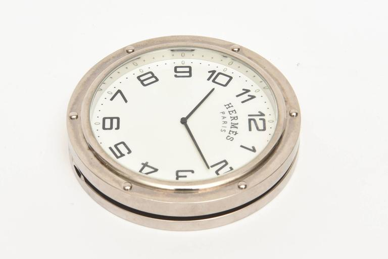 Late 20th Century Hermes Stainless Steel Pendulette Clipper Travel or Desk Clock/  HOLIDAY SALE For Sale