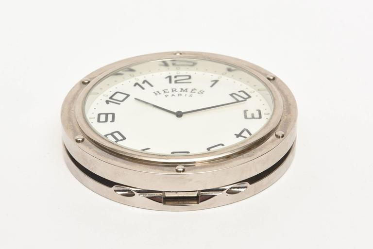 Hermes Stainless Steel Pendulette Clipper Travel or Desk Clock/  HOLIDAY SALE For Sale 1