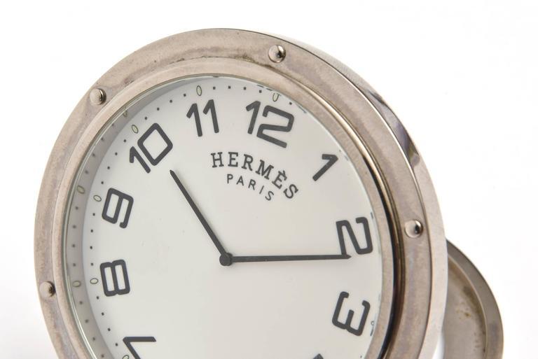 Modern Hermes Stainless Steel Pendulette Clipper Travel or Desk Clock/  HOLIDAY SALE For Sale