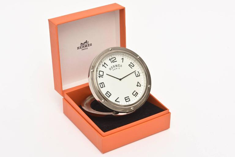 Hermes Stainless Steel Pendulette Clipper Travel or Desk Clock/  HOLIDAY SALE For Sale 3