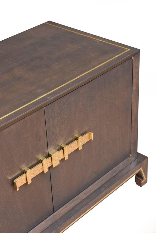 Mid-20th Century Tommi Parzinger Wood and Brass Credenza Cabinet Mid-Century Modern For Sale