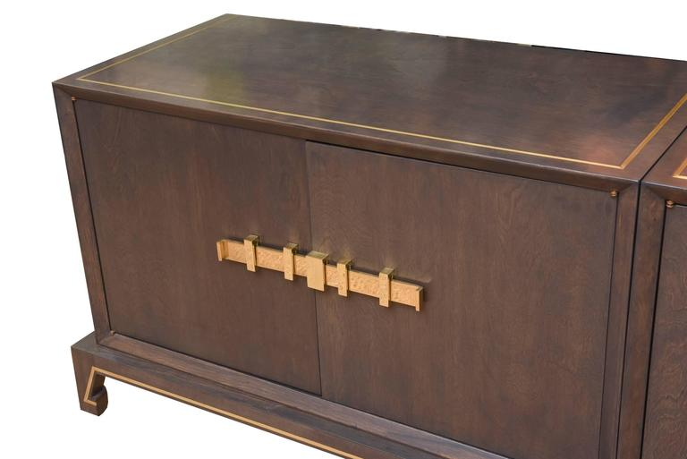 Tommi Parzinger Wood and Brass Credenza Cabinet Mid-Century Modern For Sale 2