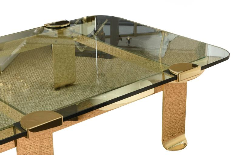 Italian Solid Brass and Glass Sculptural Cocktail Table 2